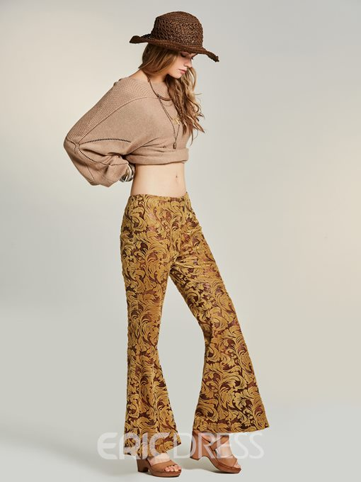 Ericdress Embroidery Wide Leg Women's Pants