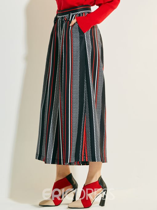 Print High-Cropped Waist Stripe Pants