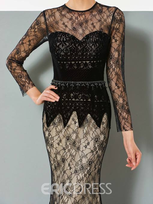 Ericdress Black Long Sleeve Lace Mermaid Evening Dress