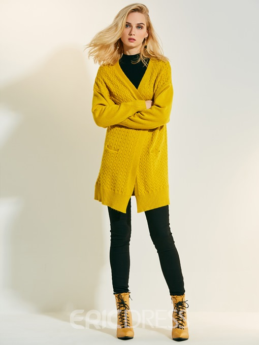 Ericdress Loose Plain Mid-Length Cardigan Knitwear