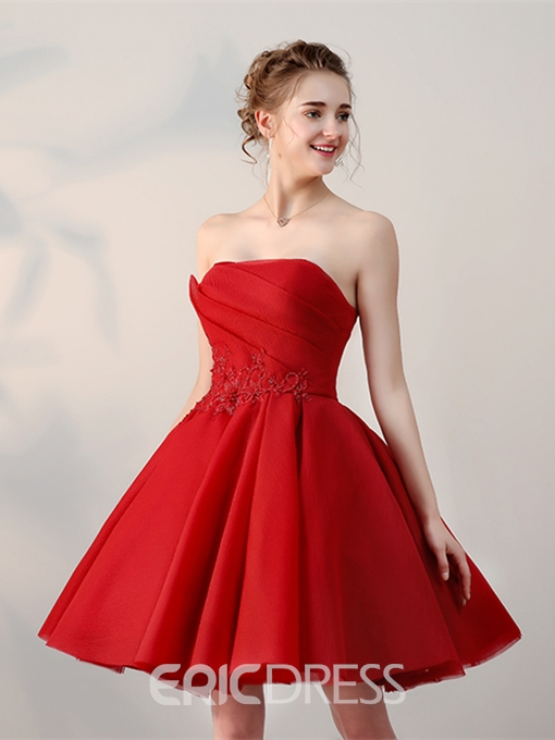 Ericdress A-Line Strapless Appliques Pleats Short Homecoming Dress