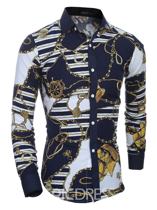 Ericdress Vintage Print Unique Slim Men's Shirt