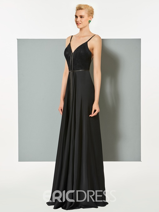 Ericdress A Line Spaghetti Straps Backless Long Evening Dress