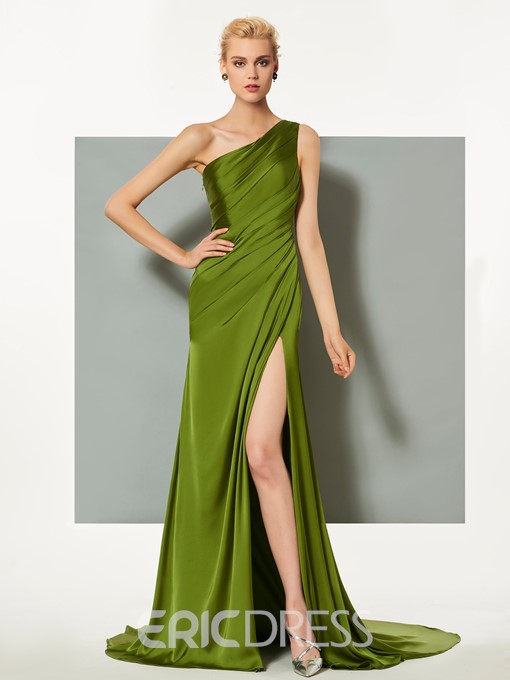 Ericdress Sheath One Shoulder Pleats Side Slit Long Evening Dress
