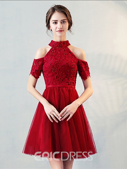 Ericdress A-Line High Neck Appliques Pearls Knee-Length Homecoming Dress