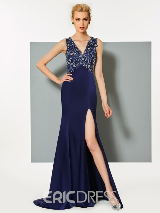 Ericdress V Neck Beaded Backless Mermaid Evening Dress With Side Slit