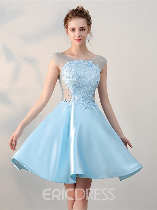 Ericdress A Line Cap Sleeve Lace Applique Satin Short Homecoming Dress