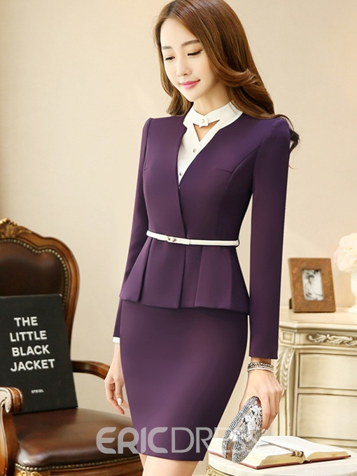 Ericdress V-Neck Long Sleeves Pleated Suits