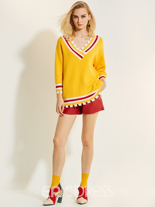 Ericdress V-Neck Stripe Color Block Knitwear
