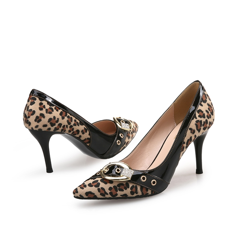 Ericdress Leopard Patchwork Stiletto Heel Pumps