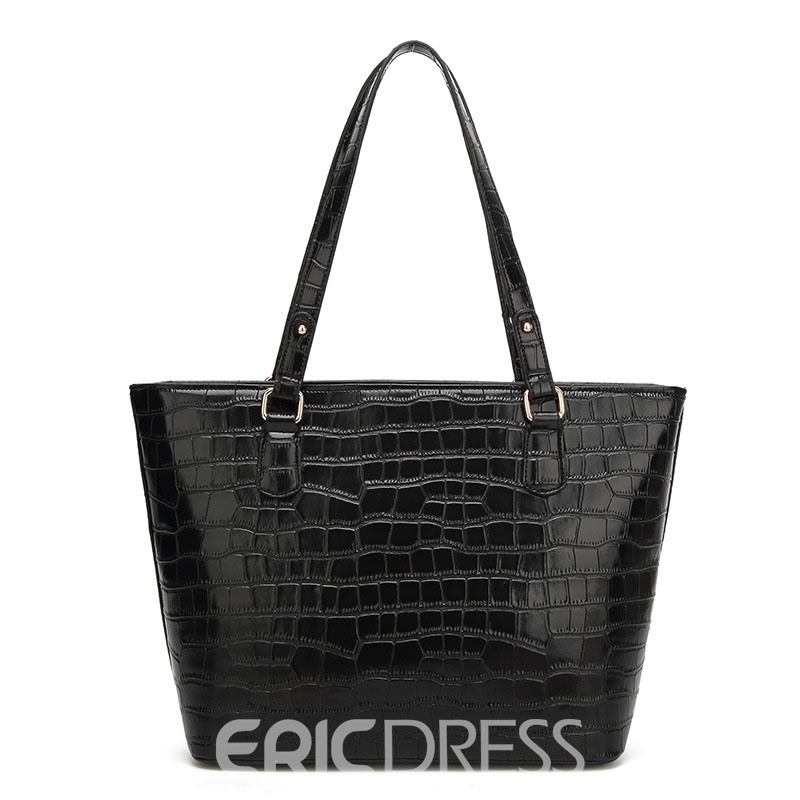 Ericdress Concise Croco-Embossed Tote Bag