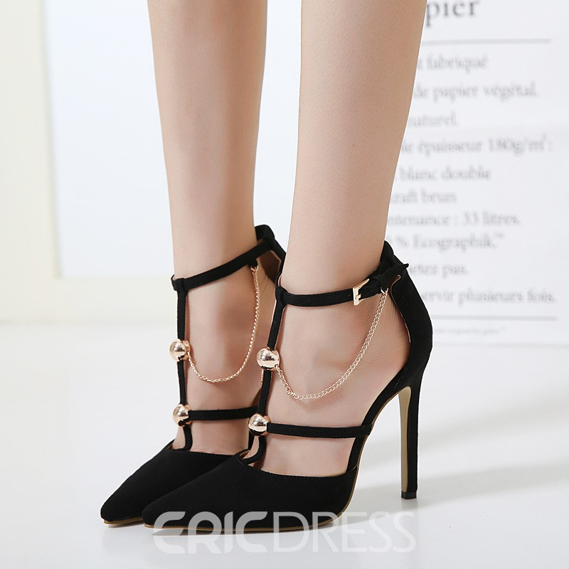 Ericdress Black Pointed Toe Stiletto Heel Pumps with Beads
