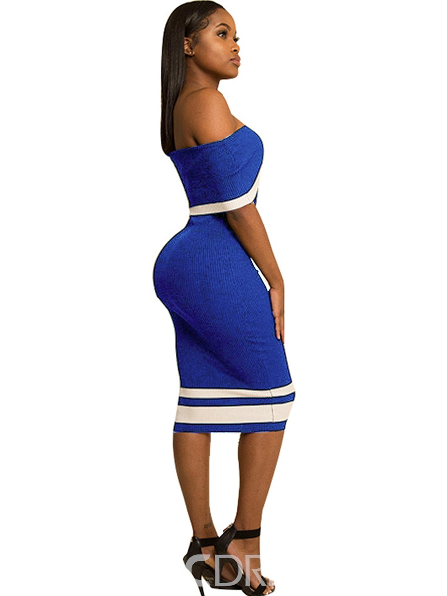 Ericdress Color Block Backless Off-the-Shoulder Bodycon Dress