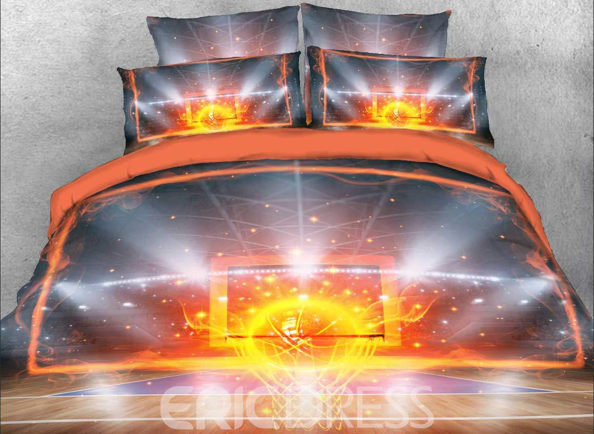 Vivilinen Fiery Basketball and Backboard Printed Cotton 4-Piece 3D Bedding Sets/Duvet Covers