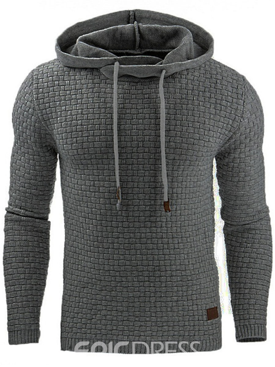 Ericdress Plain Jacquard Casual Pullover Men's Hoodie