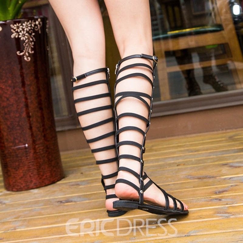 Ericdress High Shaft Strappy Plain Flat Sandals