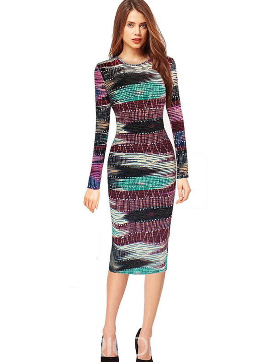 Ericdress Plaid Stripe Long Sleeve Print Sheath Dress