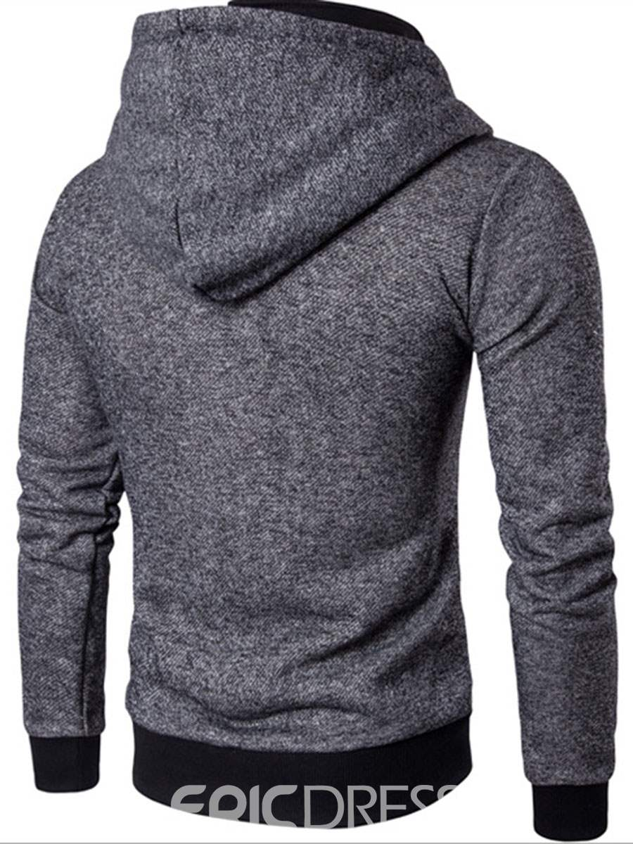 Ericdress Double-Breasted Patched Zip Casual Men's Hoodie