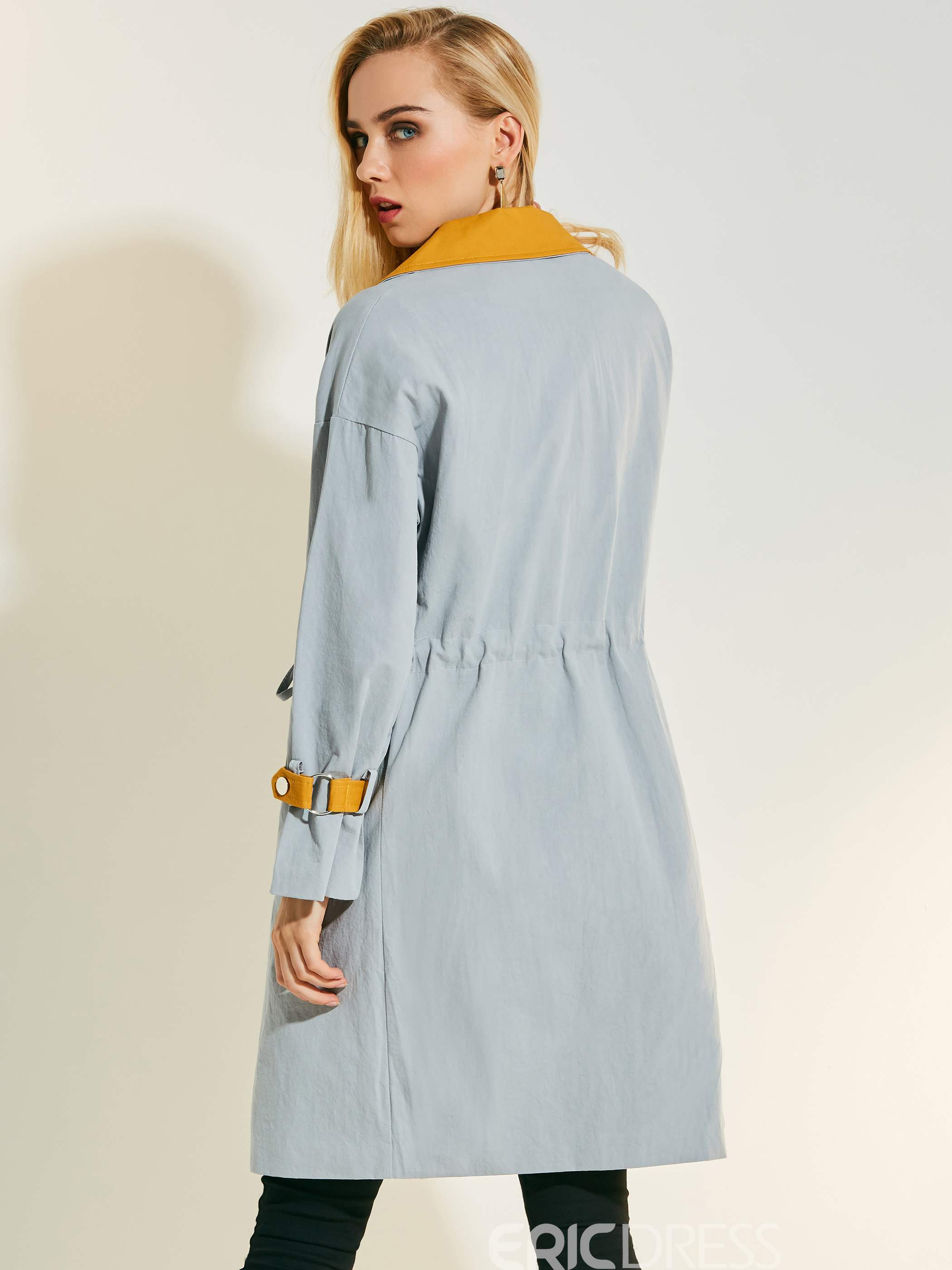 Ericdress Notched Lapel Color Block Drawstring Trench Coat