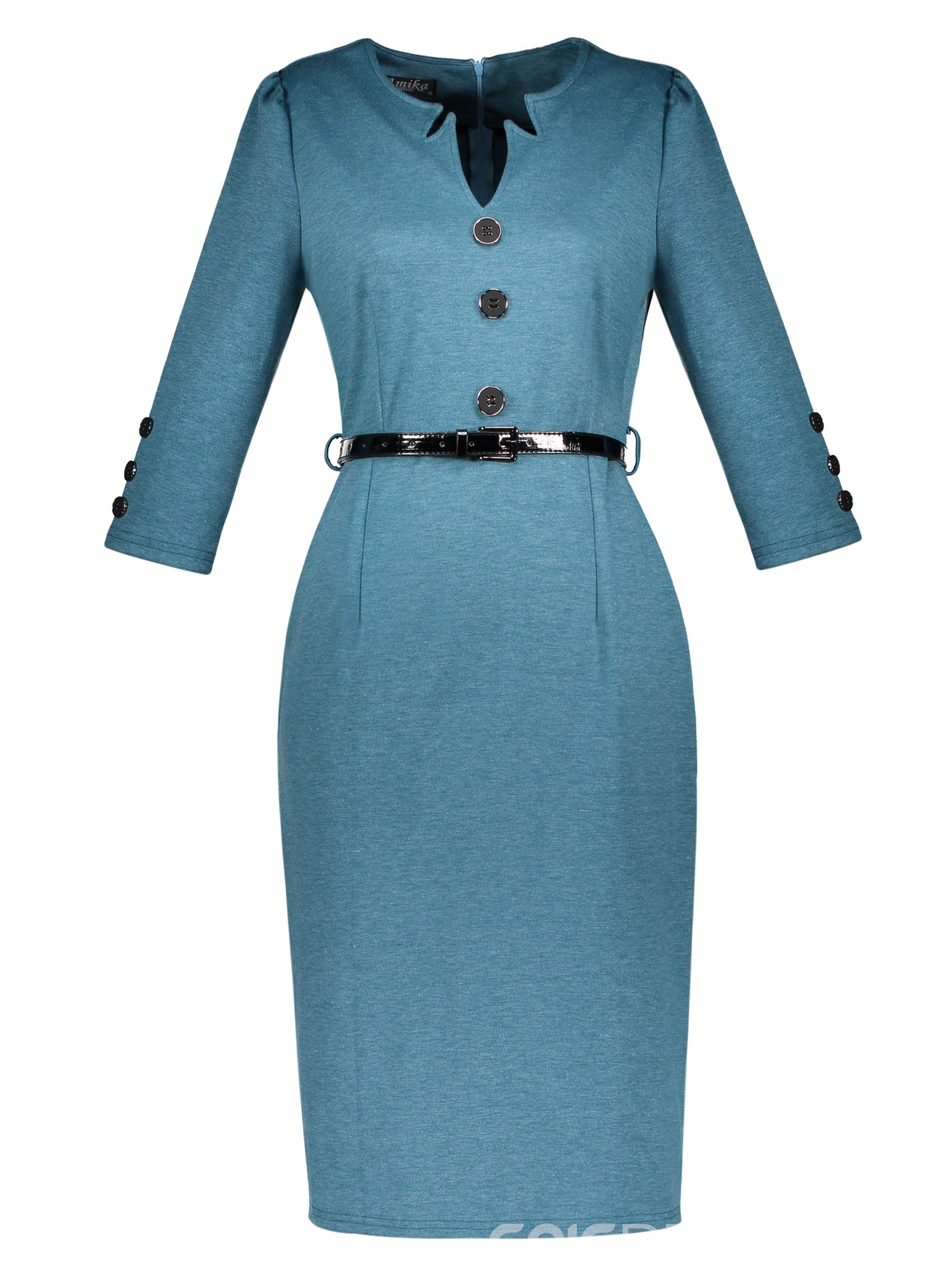 V-Neck Mid-Waist Button Women's Pencil Dress