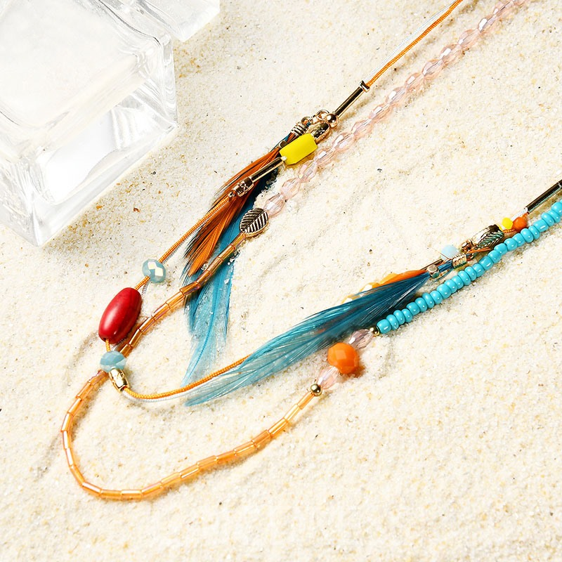 Ericdress Long Colorful Feather Decorated Women's Necklace