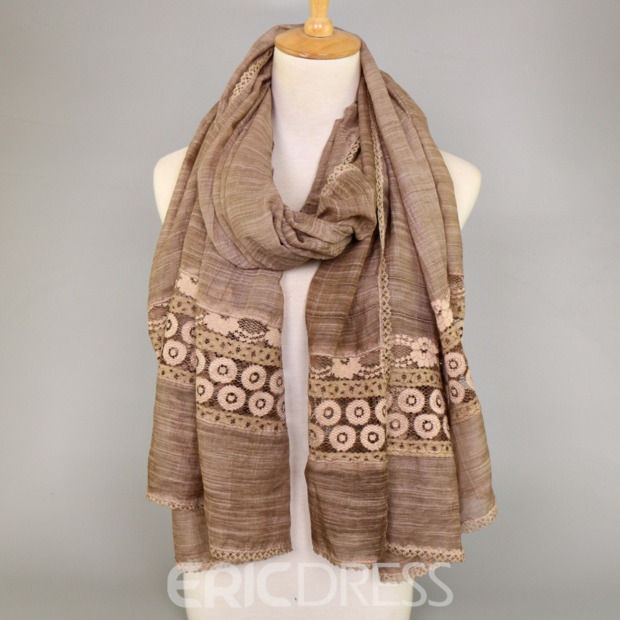 Ericdress Lace Patchwork Cotton Scarf for Women