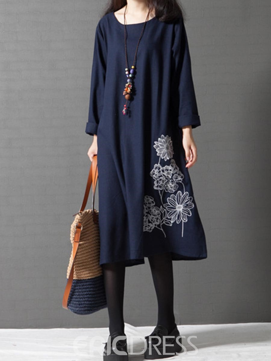 Ericdress Floral Embroidery Long Sleeves Plain Casual Dress