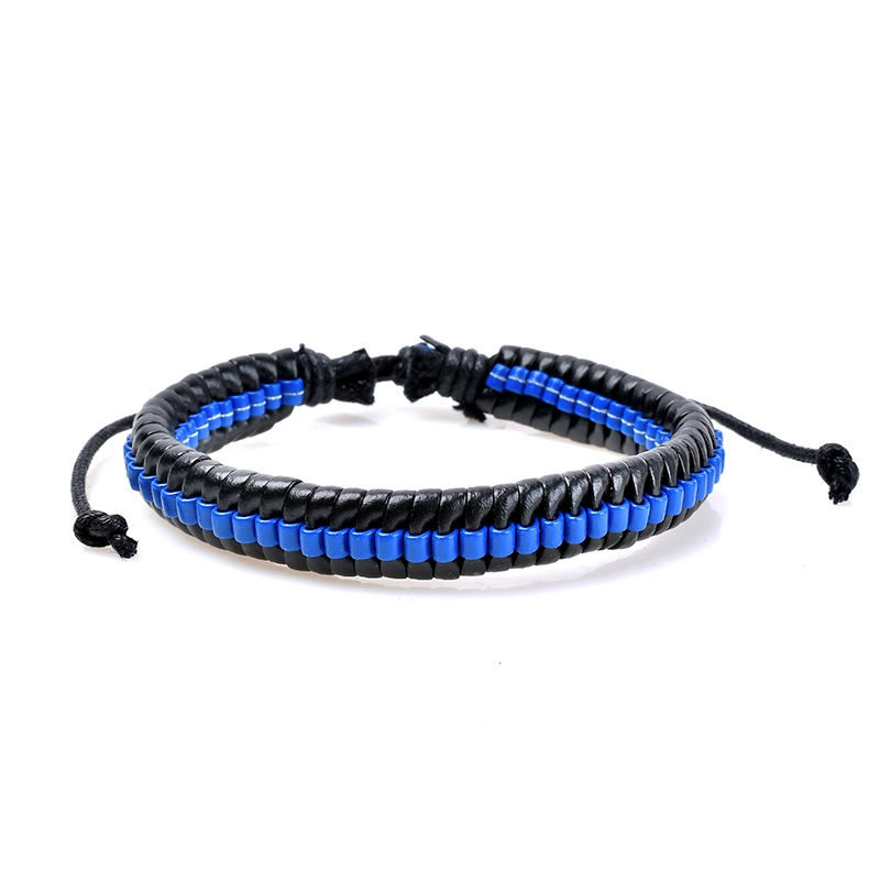 Ericdress Layered Blue & Black Leather Women's Bracelet