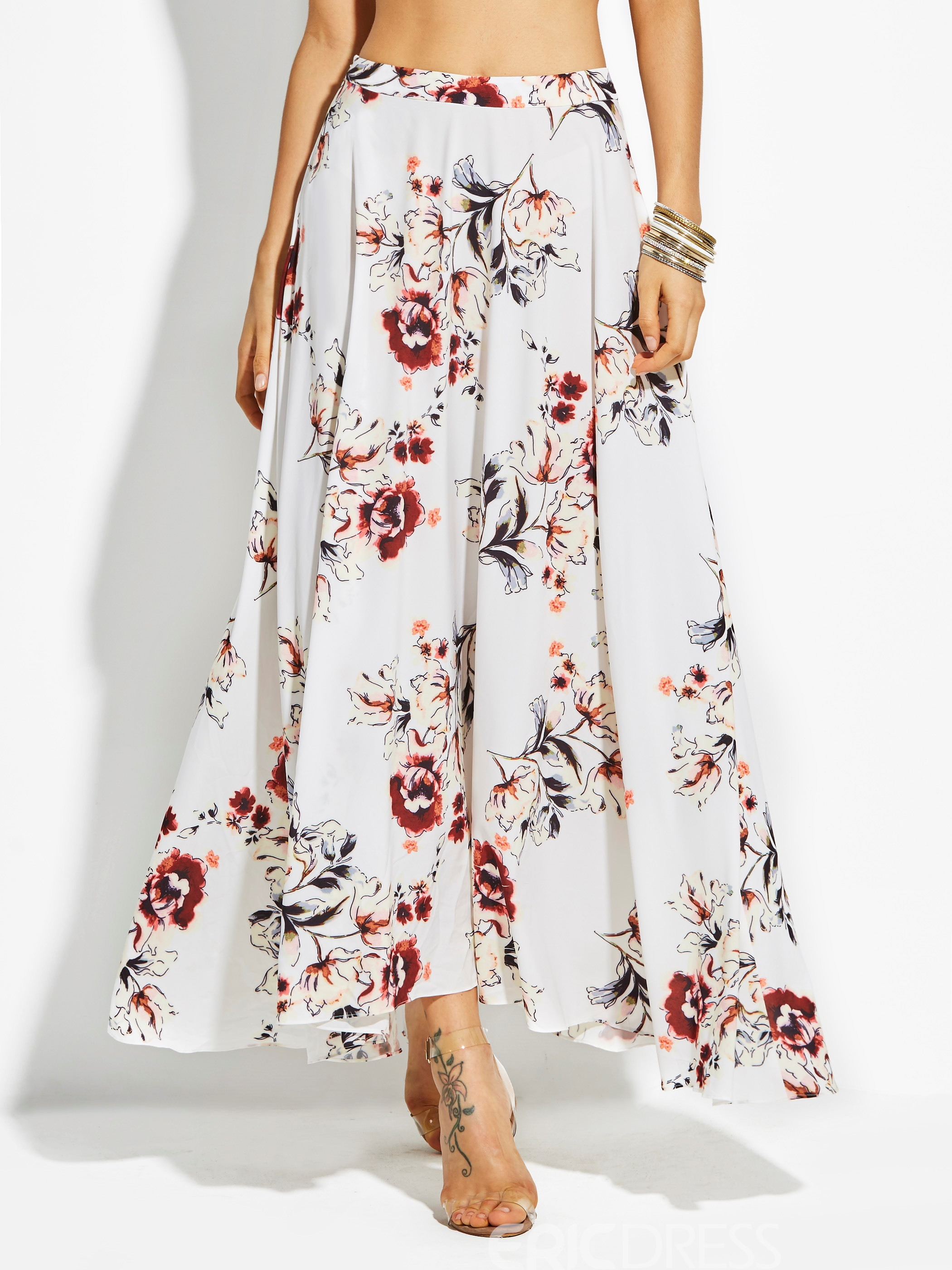 Flower Print Ankle-Length Chiffon Women's Skirt