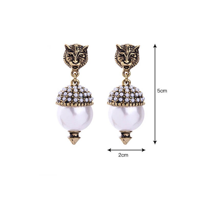 Ericdress Retro Animal Pearl Pendant Earring for Women