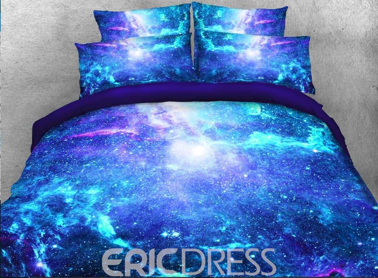 Vivilinen 3D Space Galaxy Printed Cotton 4-Piece Fluorescent Blue Bedding Sets/Duvet Covers