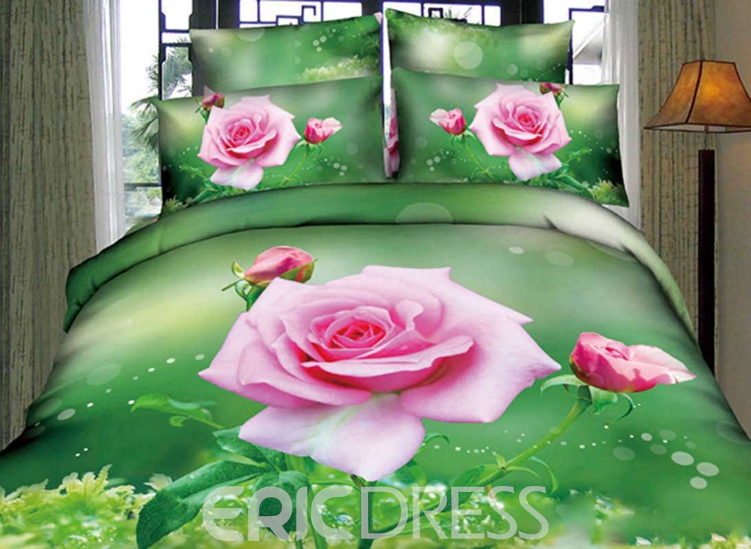 Vivilinen A Branch of Pink Rose with Green Print 4-Piece 3D Duvet Cover Sets