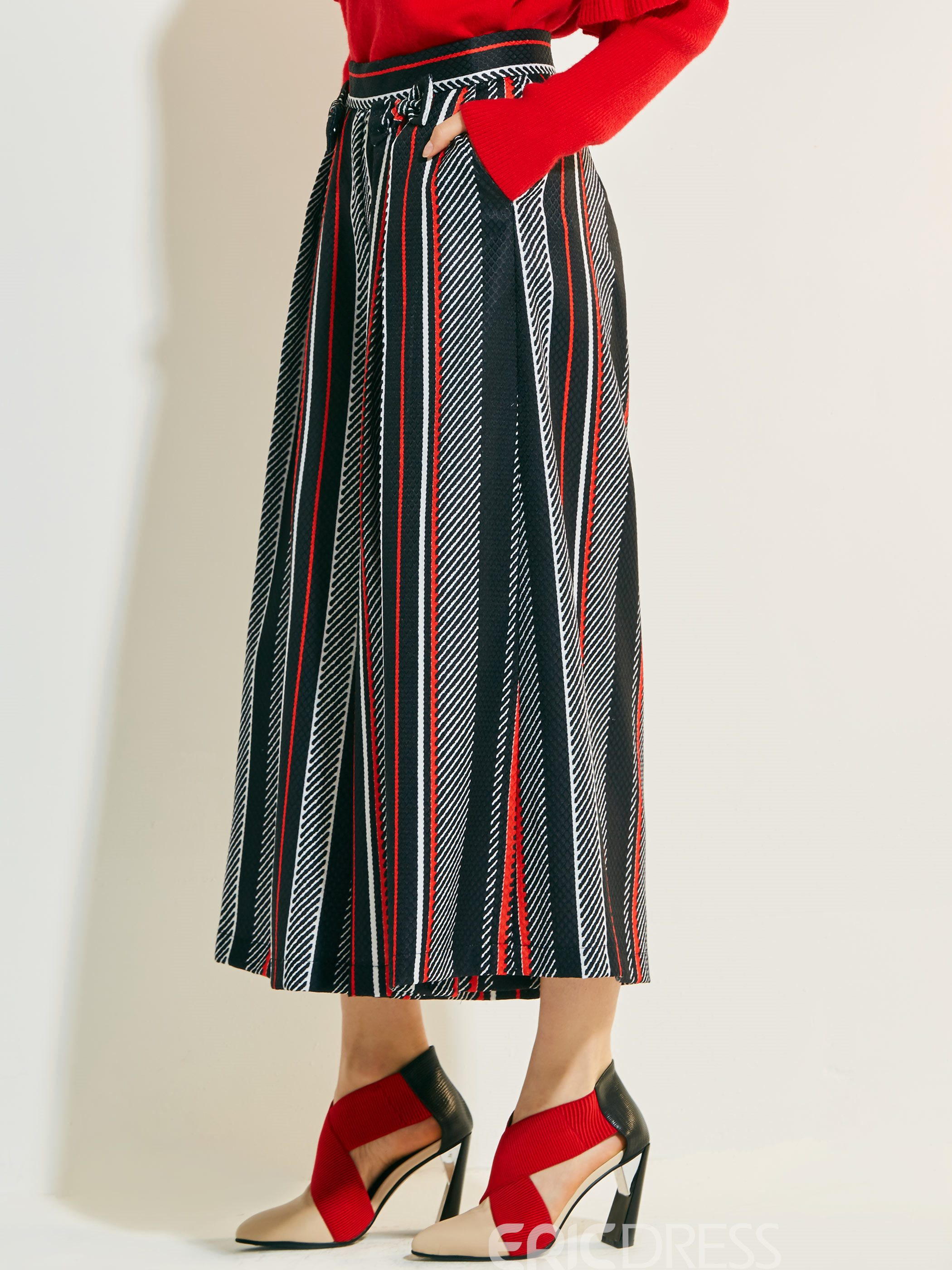Print High-Waist Color Block Stripe Pants