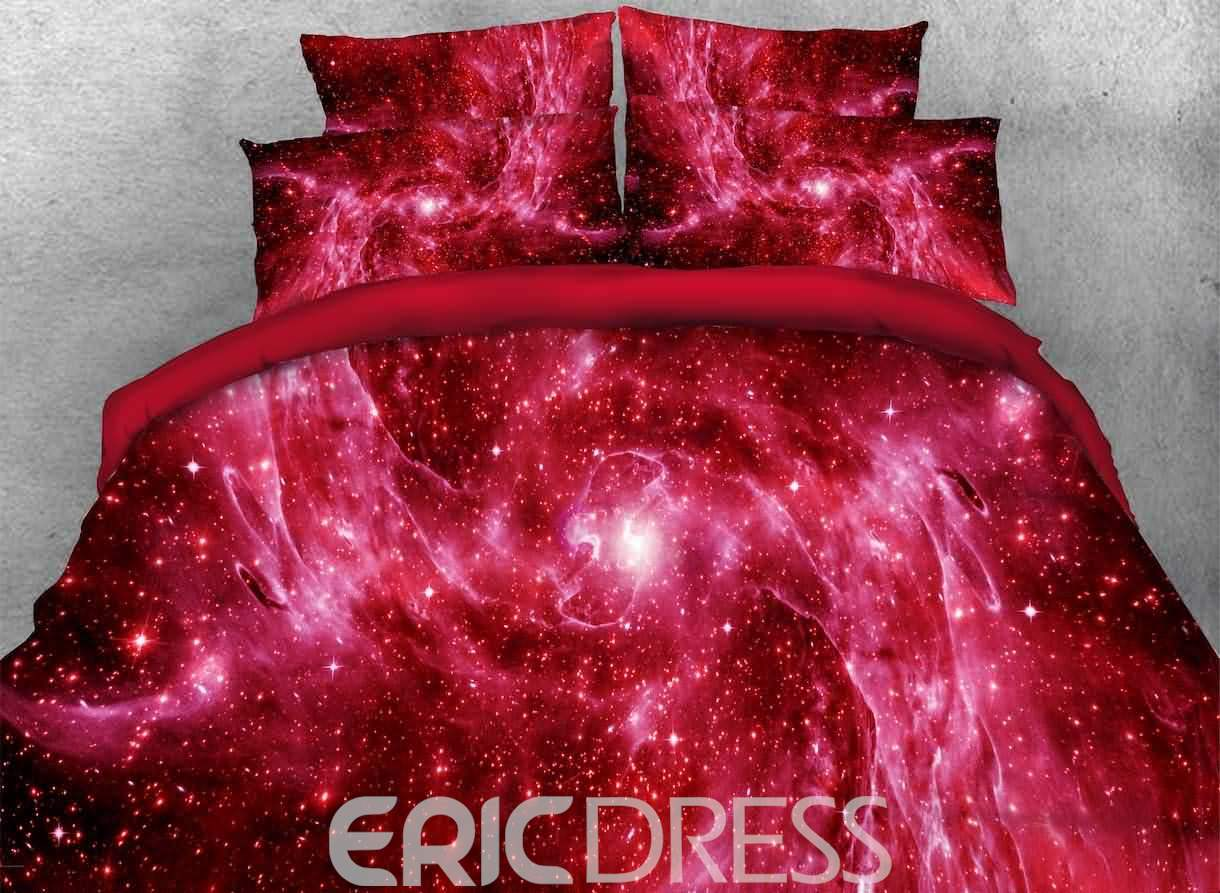 Vivilinen 3D Outer Space and Galaxy Printed 4-Piece Red Bedding Sets/Duvet Covers