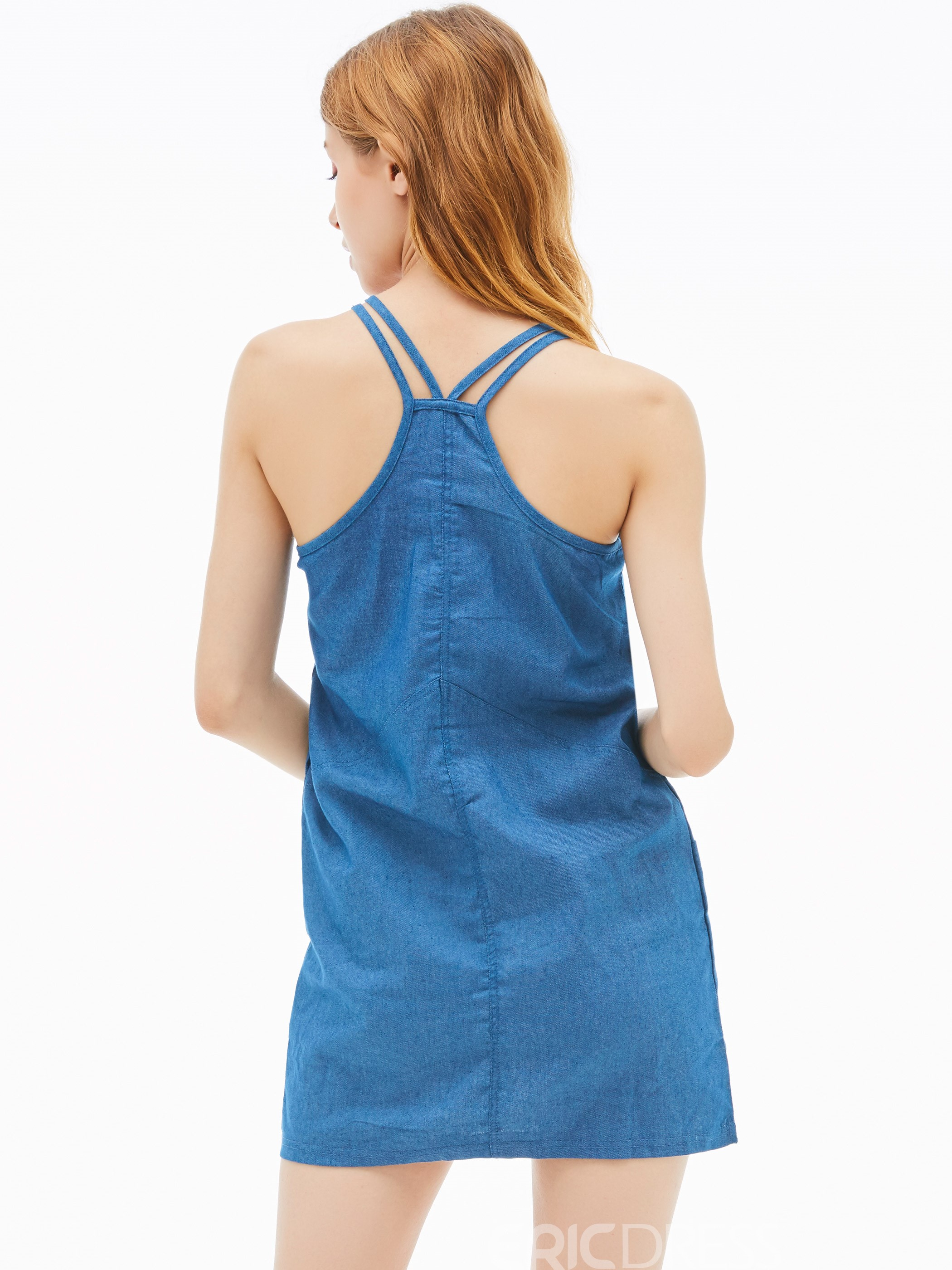 Denim Pocket Patchwork Women's Bodycon Dress