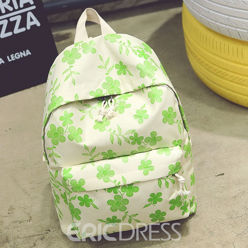 Ericdress Contracted Floral Printing Oxford Backpack