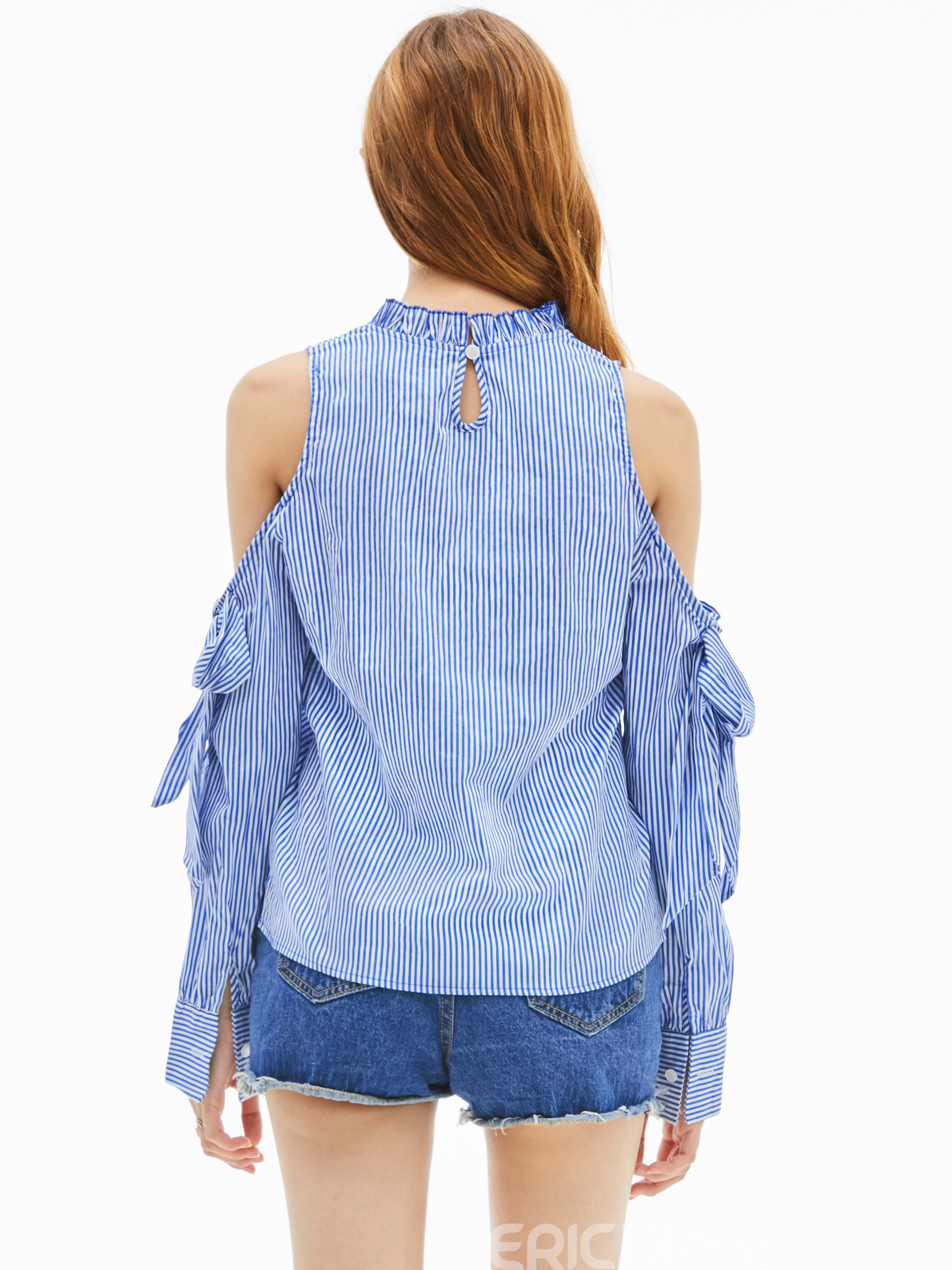 Ericdress Stripped Cold Shoulder Lace-Up Blouse