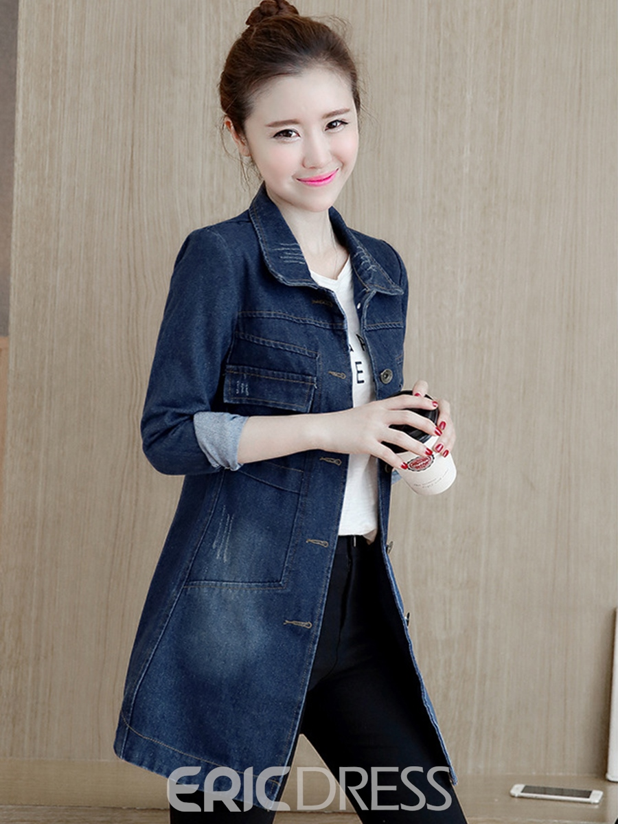 Ericdress Single-Breasted Lapel Mid-Length Trench Coat