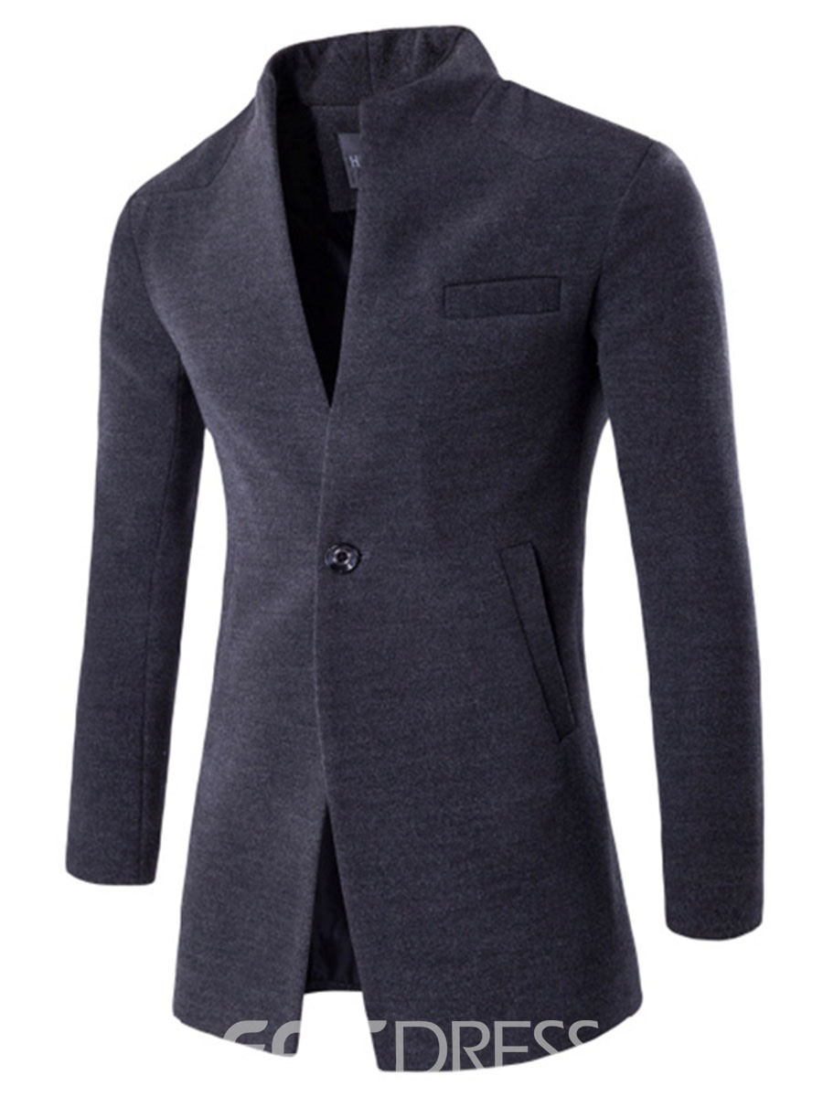 Ericdress Midi Pattern Stand Collar One Button Woolen Classic Plain Slim Men's Coat