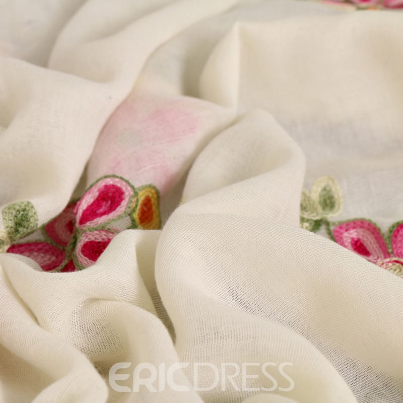 Ericdress Embroidery Plum Blossom Cotton Women's Scarf