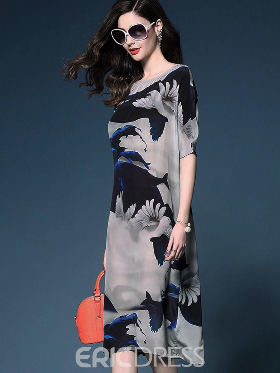 Ericdress Print Half Sleeve Mid-Waist Casual Dress