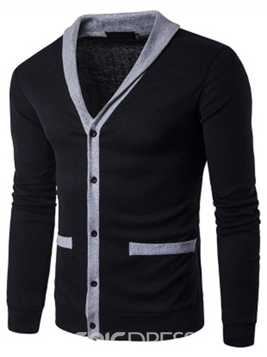 Ericdress Single-Breasted Casual Patched Men's Knitwear