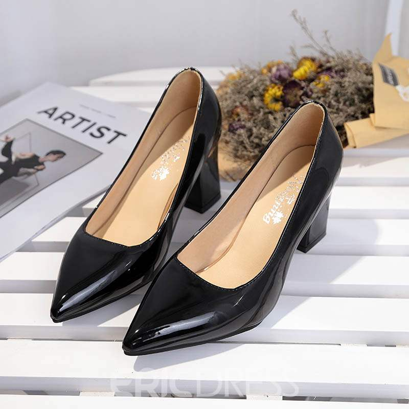 Ericdress Professional Pointed Toe Plain Chunky Pumps