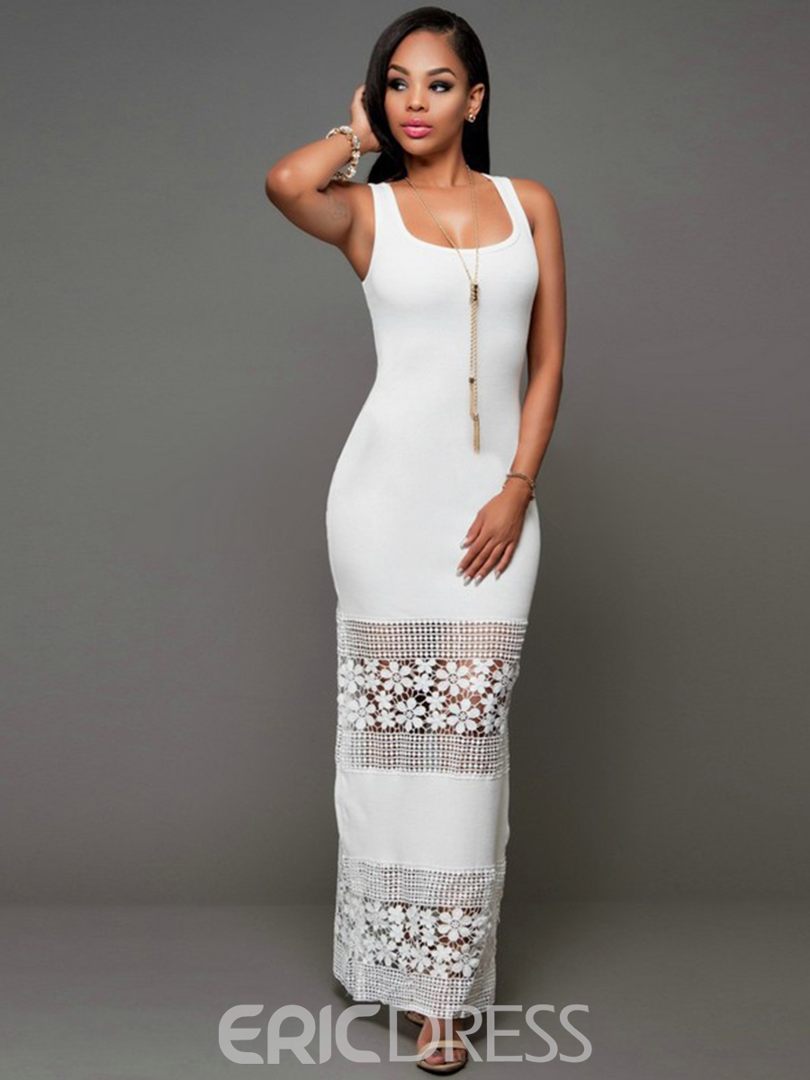 Ericdress Scoop Embroidery See-Through Maxi Dress