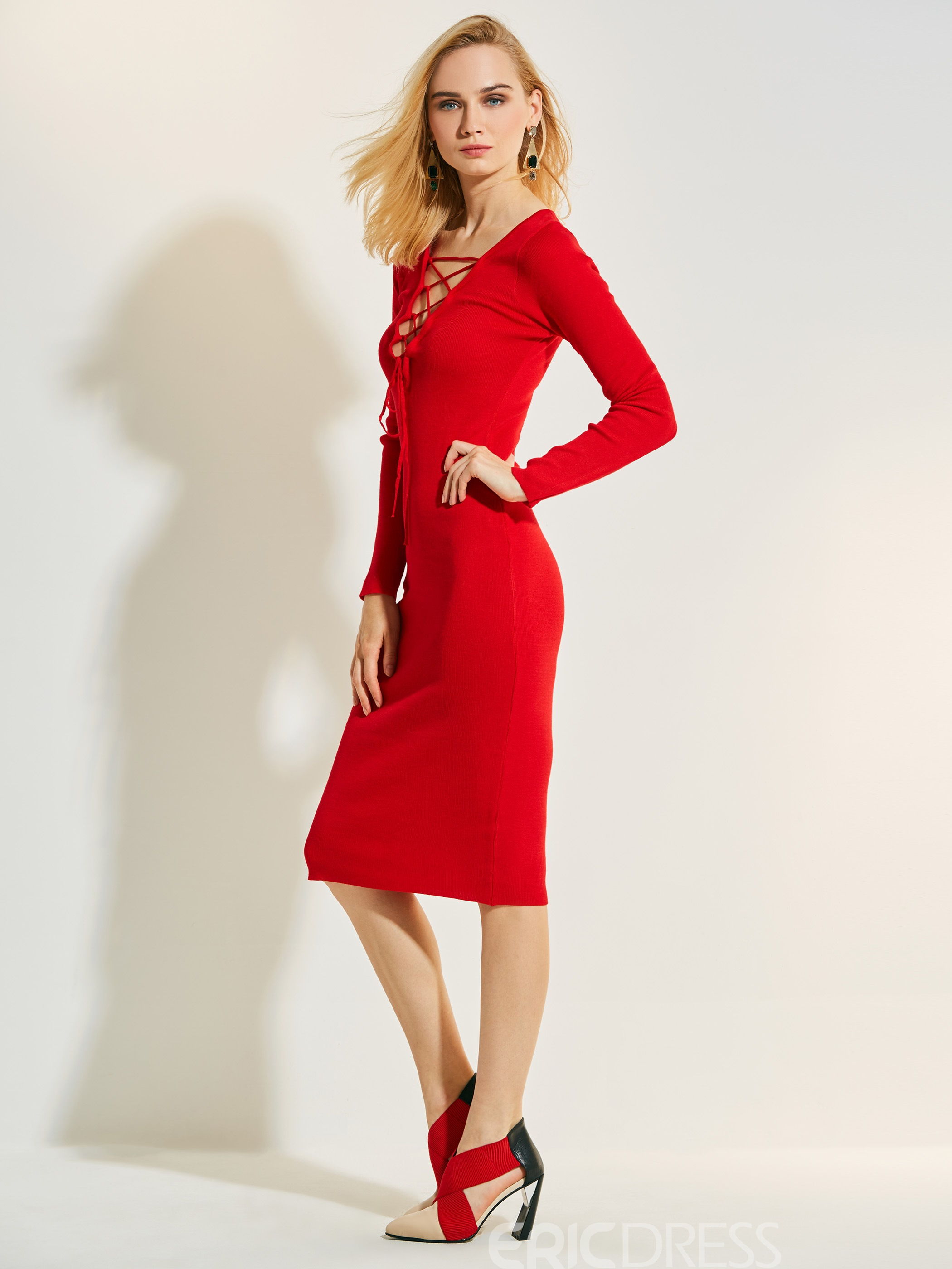 Ericdress Deep V-Neck Plain Bodycon Dress