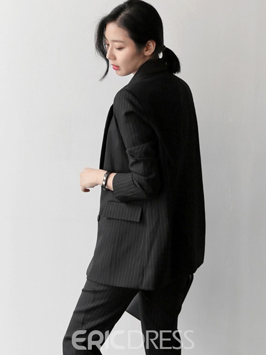 Ericdress Notched Lapel Stripe Double-Breasted Suits
