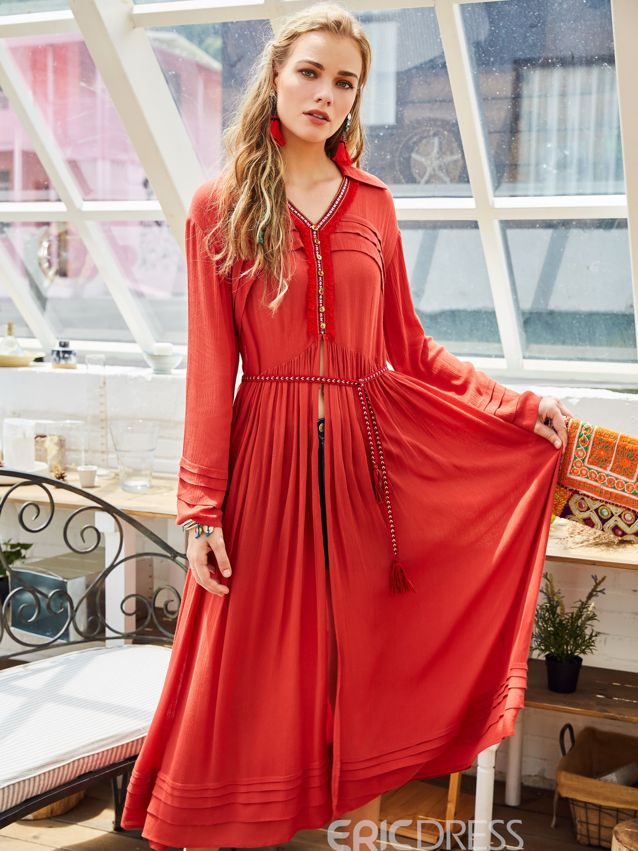 Ericdress Pleated Lace-Up With Slit Bohoartist Maxi Dress