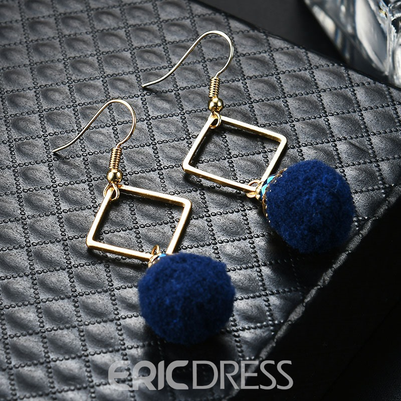Ericdress Alloy Geometric Blue Ball Pendant Drop Earring for Women
