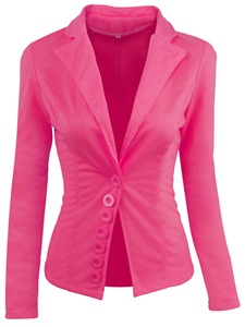Ericdress Plain Slim One Button Blazer
