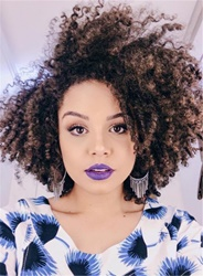 Ericdress Kinky Curly Synthetic Hair Lace Front Cap African American Wigs 14 Inches